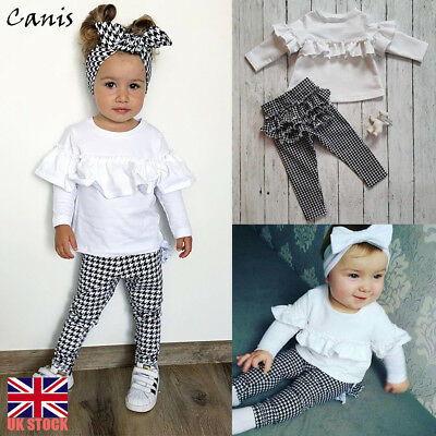2PCS Set Toddler Girls Tops+Checked Pants Leggings Outfits Kids Clothes 1-5Y UK