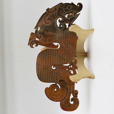 Chinese hand carved jade openwork arc-shaped with grains Chi dragon figure D254
