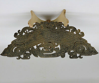 Chinese hand carved jade openwork arc-shaped with grains Chi dragon phoenix D251