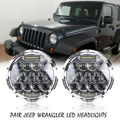 2Pcs 75W LED Headlights Fits for Jeep Wrangler 1997-2017 With Hi/Lo Beam DRL