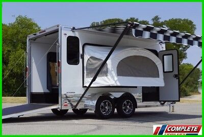 Aluminum Legend Enclosed Double Popout Sleeper Motorcycle Cargo Trailer Line-X!