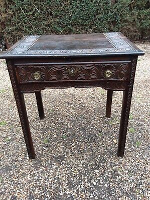 Antique Georgian Lowboy Side Table With Drawer Carved Oak And Elm