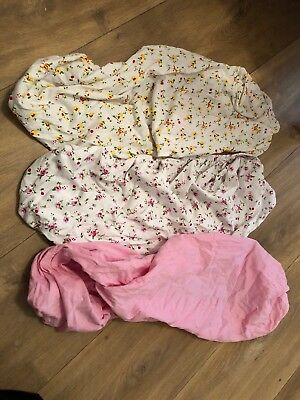 3 X Izziwotnot jersey cotton fitted moses basket sheets Pink primrose 30x74cm