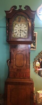Antique Long Case Grandfather Clock  With Depiction Of jesus On Face