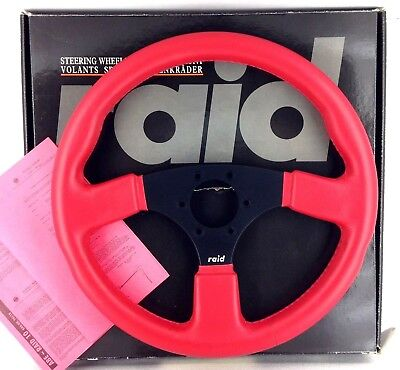 Genuine Raid 10, 360mm Red Leather steering wheel. 1991 New old stock.    18B