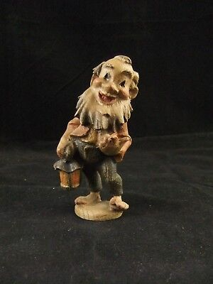 Vintage Carved Wood Gnome Elf Dwarf With Lantern