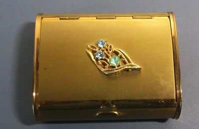 Rare Vintage Make - Up Compact Cigarette Coin Carryall Case Gold Tone Jeweled
