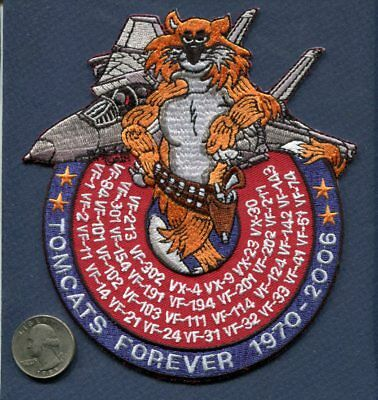 """6"""" GRUMMAN F-14 TOMCAT SQUADRON LISTED  FOREVER US Navy Squadron Patch"""