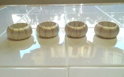 Set Of 4 Round Ivory And Gold Thread-Wrapped Holiday Napkin Rings