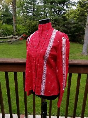 Vintage Red 70s Prarie Boho Hippie Country Victorian Button Pintuck & Lace Shirt
