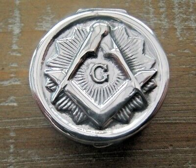 A Beautiful English Hallmarked Solid Masonic Sterling Silver Box - Snuff - Pill