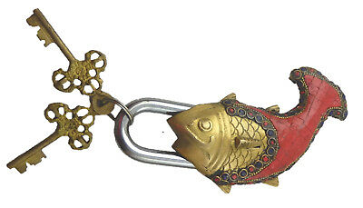 Beaded Red Fish Shape Antique Style Handmade Solid Brass Padlock & Unique Keys