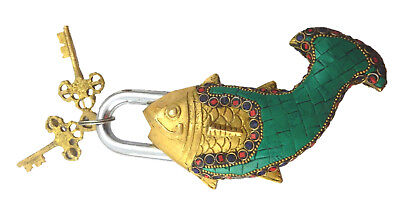 Beaded Green Fish Shape Antique Style Handmade Solid Brass Padlock & Unique Keys