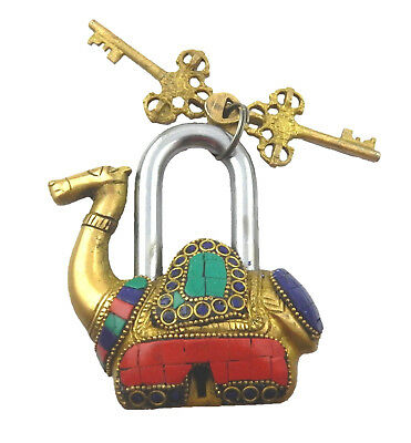 Beaded Camel Shape Vintage Antique Style Handmade Solid Brass Padlock With Keys