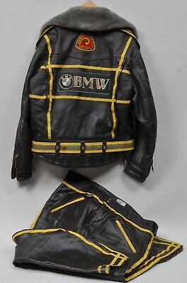1960's LANGLITZ LEATHERS BMW BROWN LEATHER PRO MOTORCYCLE JACKET RIDING SUIT