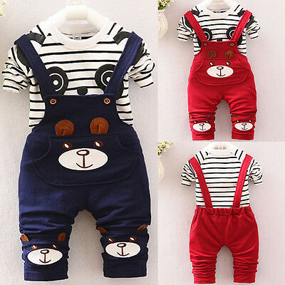 Toddler Newborn Baby Boys Girl Tops T-shirt+Bib Pants Party Outfit Clothes CW