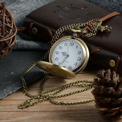 Steampunk Men's Vintage Retro Bronze Pocket Watch Quartz Pendant Necklace Gifts