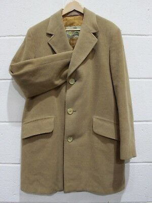 Vintage Men's AQUASCUTUM Camel Coat Pure Wool, Made in England - 38R (M/L) - 207