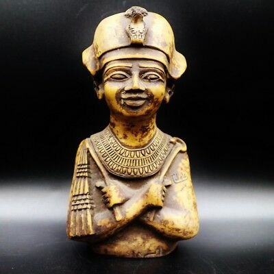 Stunning X-Large Antique Egyptian Pharaoh King Bust Figure Statue