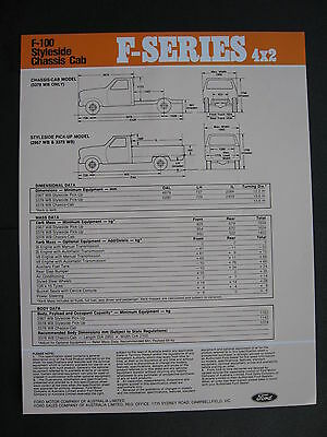 Ford F100 4x4  F Series  Chassis Cab  April 1982 Specification Sheet