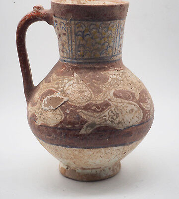 Ancient Large Size Teracotta Juglet Islamic 1700A with Fish Design,#SH0022