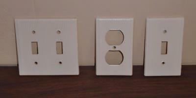 Vtg Ivory Ribbed Light Switch Plate Covers Double + Single & Outlet Cover Plate