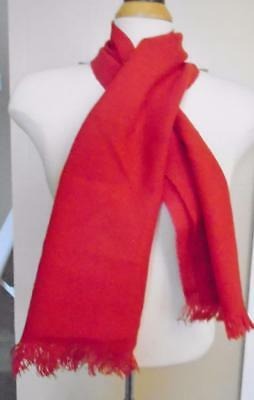 VTG 1960s RED ACRYLIC WINTER SCARF FRINGES SNOWFLAKE PATTERN NWT