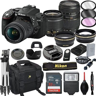 Nikon D5300 DSLR Camera With 18-55mm VR and Tamron 70-300mm Lenses Kit - Black