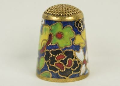 Beautiful Colorful Floral Cloisonne Thimble - Sewing Collectibles