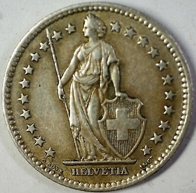 1957 B Switzerland 2 Francs Average Circulated Helvetia Silver Coin