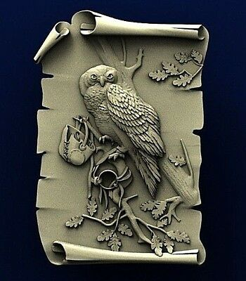 "3D STL Model Relief for CNC Router Aspire Artcam - ""LEGENDARY OWL"""