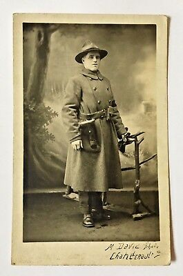 Original Rppc Ww1 Us Army M.p. With 45 Cal. Side Arm In France Photo Postcard