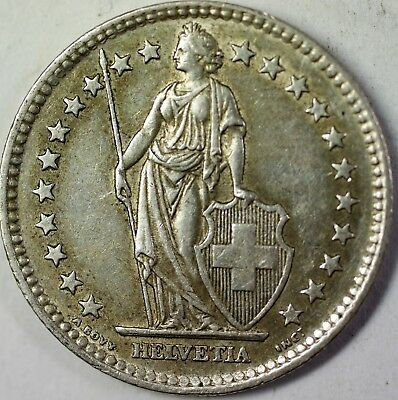 1964 B Switzerland 2 Francs Average Circulated Helvetia Silver Coin