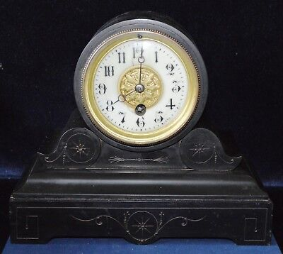 Antique Victorian Small Slate Drum Head Mantle Clock Working
