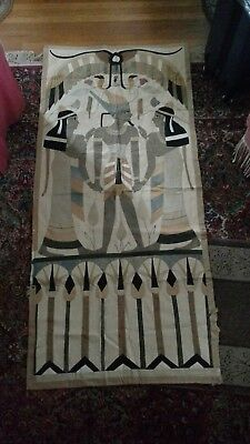 """2   Antique Egyptian Quilt Tapestry Distressed Sailcloth Hand Sewn 74"""" x 34"""""""