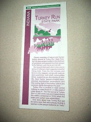 Indiana Turkey Run State Park Informational Guide Map!  Marshall IN -2011