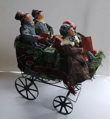 """Vintage Christmas Carolers Family in 13"""" Carriage Sleigh Decoration"""