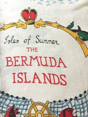 Isles of Summer Bermuda Islands Vtg Tablecloth from the 50's Excellent Condition