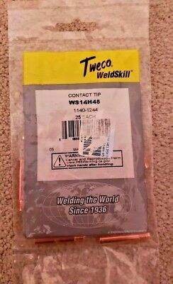 """25 Mig TWECO Contact Tips WS14H45 .045"""" Heavy Duty Fit Lincoln Magnum"""