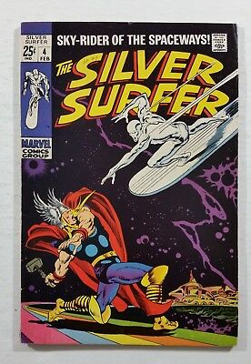Silver Surfer #4 Marvel Comics 1969 Thor Loki Hulk Thing Hercules Apps DEAL!!!