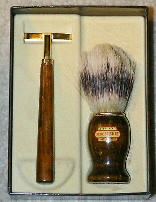 Vintage Gent's Wooden Disposable Razor & Shaving Brush Made in West Germany