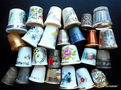 Lot Of 26 Thimbles,sewing,quilting,sterling Silver,porcelain,coalport,collecting