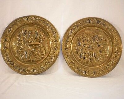 "Antique Brass, Embossed Wall Art, Plates, Large Pair 14"" set of two"
