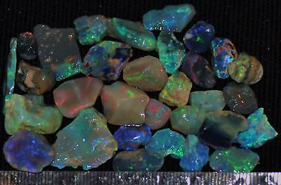 100 Cts Solid Gem Quality Lightning Ridge Rough And Rough Rubbed Opal Parcel 62