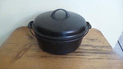 Antique Vintage Cast Iron Dutch Oven, Number #9, W/Lid and Handle