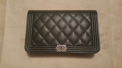 d6cd6ed21f1bd4 Authentic Chanel Boy Wallet on Chain, Black Caviar with Ruthenium Hardware