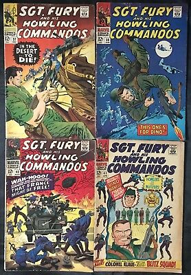 Lot Of 4 Sgt. Fury Comics (Marvel,1966/1967) #37, 38, 40, 41 Silver Age ~