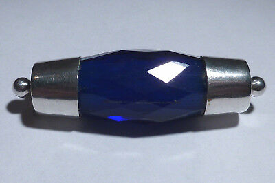Art Deco Sapphire Blue Glass Barrel Shape Brooch White Metal Stave Ends 1.75""
