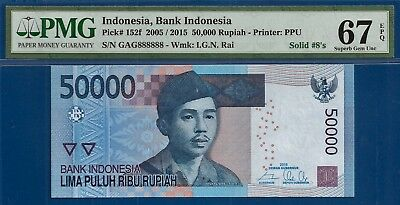 **Lucky # 8 Solid Serial Number** Indonesia P-152f 2015 50,000 Rupiah PMG 67EPQ