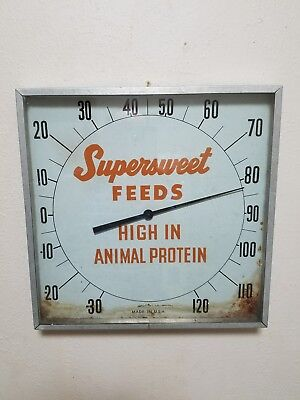 """12"""" SUPERSWEET FEEDS advertising thermometer sign soda gas station sorghum farm"""